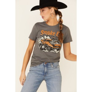 Country Deep Women's Muscle Car Smoke Em Graphic Short Sleeve Tee - Short Sleeve Shirts Casual KTYLW9403