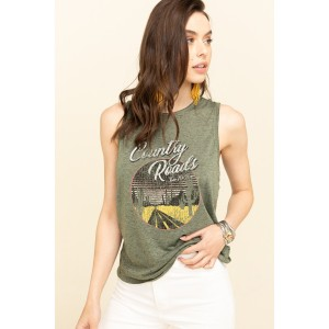Cut & Paste Women's Country Road Braided Graphic Tank Top Made In Usa - Short Sleeve Shirts Z7KOK6439