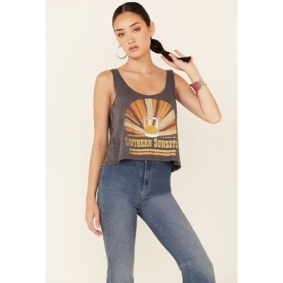 Goodie Two Sleeves Women's Charcoal Southern Sunsets Graphic Crop Tank Top Quality - Short Sleeve Shirts The Best Brand 2XYBL5046