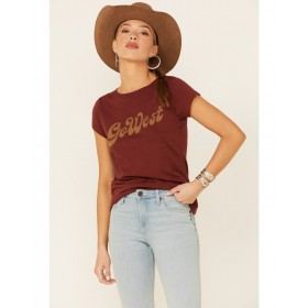 Shyanne Life Women's Chocolate Brown Go West Graphic Short Sleeve Tee Good Quality - Short Sleeve Shirts Cheap TX2437328