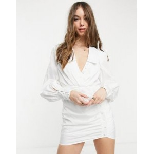 DESIGN button detail skirt mini dress with ruched skirt in white Business Casual for Women in new look TKGW535