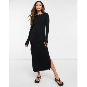 DESIGN crew neck ribbed midi dress Business Casual on style WURW719