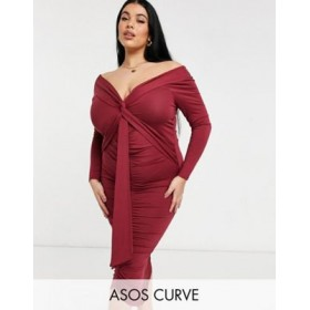 DESIGN Curve bardot long sleeve midi dress with sash detail in maroon Business Casual Top Sale HCDD473