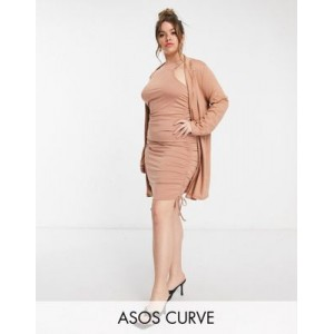 DESIGN Curve coordinated ruched racer neck mini dress with Ponte oversized blazer in mocha Business Casual for Young Women boutique JUIN321