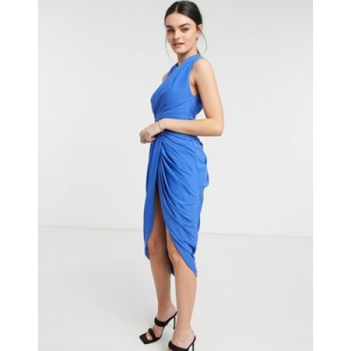 DESIGN halter ruched midi dress with waist detail and drape skirt Going Out for Women Fashion OVQE291