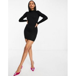DESIGN long sleeve sexy back mini dress in black for Women Clearance Sale PURD738