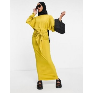 DESIGN maxi dress with gathered cuff and tie front detail Business Casual FVAF482