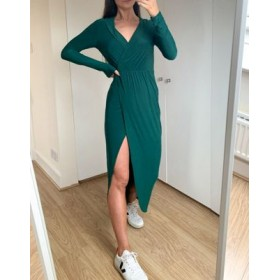 DESIGN plunge wrap shirt maxi dress in forest green Formal for Women on style HIBV238