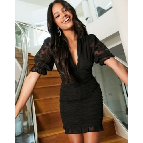 DESIGN ruched mini body-conscious dress in star dobby in black for Young Women guide BUJT152