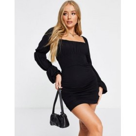 DESIGN ruched sheered mini dress with triple sleeve in black Going Out for Women Lowest Price PCCI700