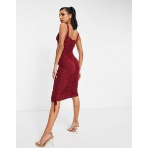DESIGN ruched sweetheart body-conscious midi dress in red Business Casual for Women guide OWIM752