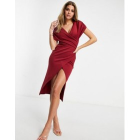 DESIGN ruched wrap around short sleeve midi wrap dress in oxblood Business Casual the best QTCL349