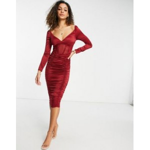 DESIGN satin ruched midi dress with mesh corset detail in berry Formal in new look SZDA302