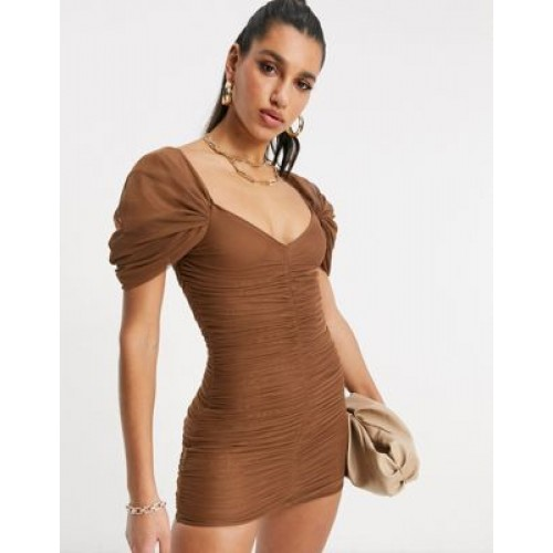DESIGN sweetheart neck line mesh ruched mini dress in chocolate for Women cool designs ABPQ633