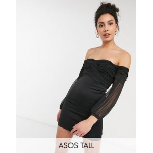 DESIGN Tall exclusive cross front mesh bardot sleeve mini dress in black for Women outlet NYGC130
