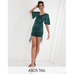 DESIGN Tall kimono sleeve stretch satin tie front ruched mini dress in forest green new in ELUQ873