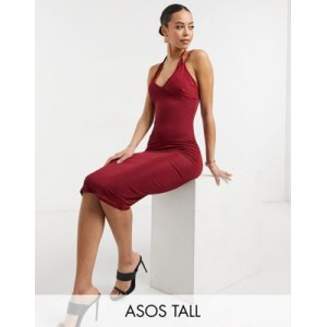 DESIGN Tall rib double cup strappy cami midi dress in wine Business Casual for Women Or Sale Near Me OZHS672
