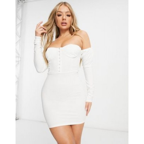 Femme Luxe off-shoulder volume sleeve corset detail mini dress in white for Young Women The Most Popular AQIQ459