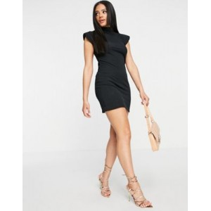 I Saw It First ribbed high neck body-conscious dress with shoulder pads in black Going Out for Women in style OCES576