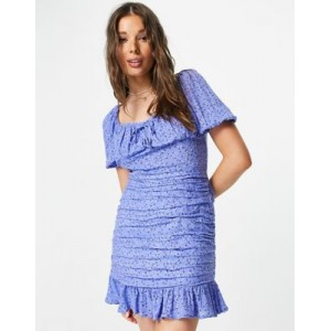 In The Style x Billie Faiers sweetheart puff sleeve mini dress with ruffle hem in blue floral print for Young Women Business Casual CEXL419