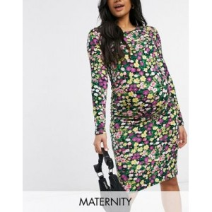 Mamalicious Maternity body-conscious dress in mixed ditsy floral for Women's ZSED726