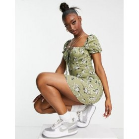 Missguided mini dress with puff sleeve in khaki floral Business Casual for Women IMIP845