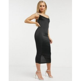 Missguided satin midi dress with diamante strap detail in black Going Out for Women Sale LWNE540