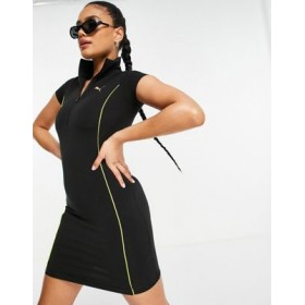 Puma high neck body-conscious dress in black with piping Business Casual for Women's GNAH713