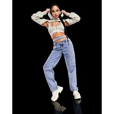 ASYOU cut-out 90s dad jeans in blue 26 Inch Waist Fit JOFT683