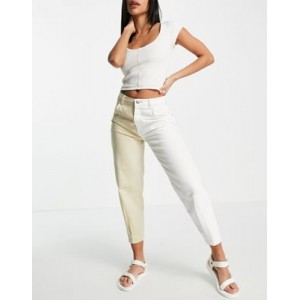 Bershka split wash slouchy jean in camel and white FWMD298