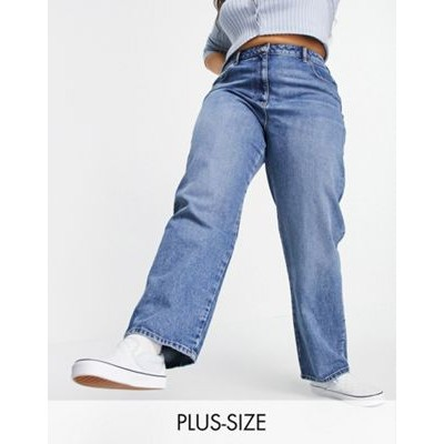 COLLUSION Plus x005 90s straight jeans in midwash blue for Women's shopping FJOZ671
