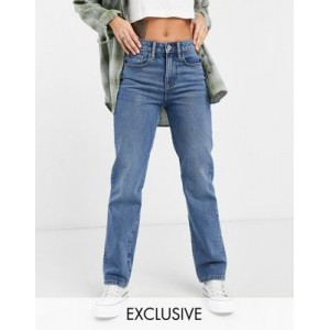 COLLUSION x000 Unisex 90s straight leg jeans in mid wash blue 29 Inch for Women On Sale CBIU359