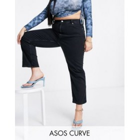 DESIGN Curve high rise 'Stretch' straight leg jeans in washed black 29 Inch Trend MYRZ682
