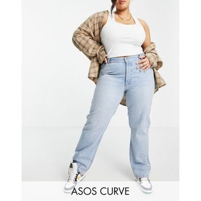 DESIGN Curve organic mid rise 90s straight leg jeans in light wash 29 Inch for Women's VWVE640