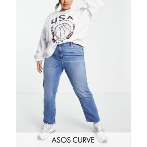DESIGN Curve Sassy high rise cigarette jeans in bright mid wash Size 0 for Women's KKKA355