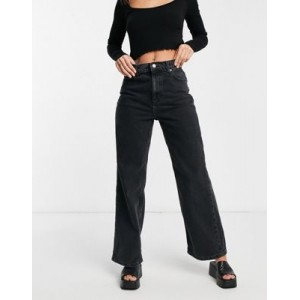 DESIGN high rise 'relaxed' dad jeans in washed black Work hot topic VZSP424