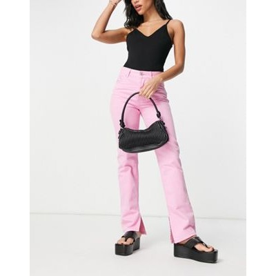 DESIGN mid rise '90s' straight leg jeans in hot pink with split hem guide RFPY162