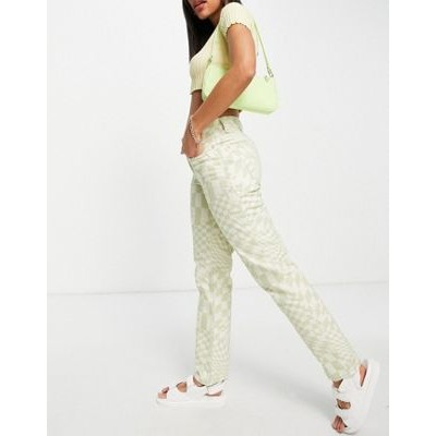 DESIGN mid rise '90's' straight leg jeans in psychedelic check print Size 7 for Women On Line VZZM941
