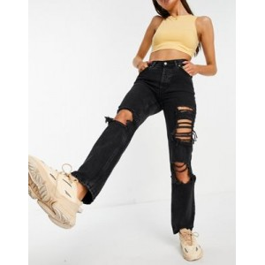 DESIGN organic mid rise '90s' straight leg jeans in washed black with extreme rips 27 Inch Leg Selling Well GUHE173
