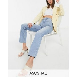 DESIGN Tall high rise 'slim' stretch straight leg jeans in lightwash Fit for Women On Sale YUIX200
