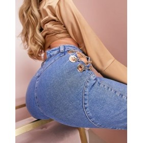 LUXE Hourglass jeans with gold lace up chain detail in mid wash for Women's New Look EIES134