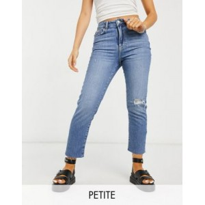 New Look Petite ripped straight leg jean in light blue for Women WHQE794