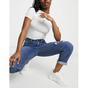 New Look ripped straight leg jeans in blue 29 Inch TOSF938