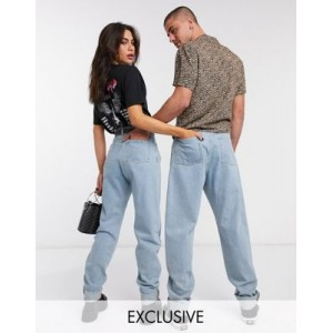 Reclaimed Vintage Inspired The '83 unisex relaxed jeans in light wash blue 40 Year Old for Women BLQM946