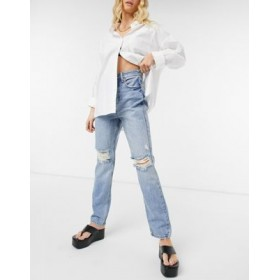 River Island 90's high rise ripped jeans in light authentic blue for Women Cut Off PDDO736