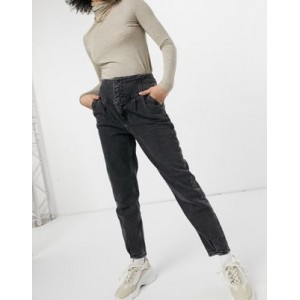 River Island high waisted straight cut peg jeans in washed black shopping WPLO205