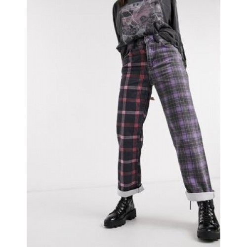 The Ragged Priest dad jeans in half and half plaid denim for Women Clearance Sale ONWI756