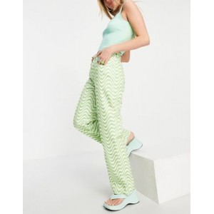The Ragged Priest straight leg jeans in wavy lime print Size 32 for Women's UHOC756