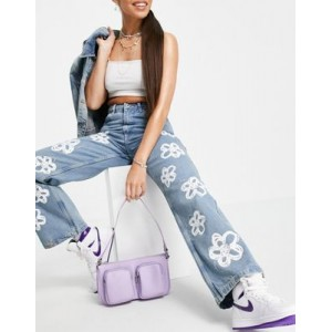 The Ragged Priest straight leg jeans with bleach flower print - part of a set TEKD722
