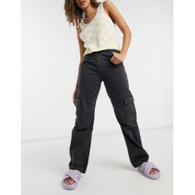 Weekday Abel organic cotton jeans with pockets in black for Women Sale FUVE549